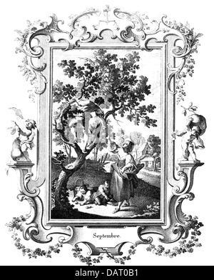 Kalender monat Bild, September, Kupferstich von Johannes Esaias Nilson, Augsburg, ca. 1750, Artist's Urheberrecht - Stockfoto