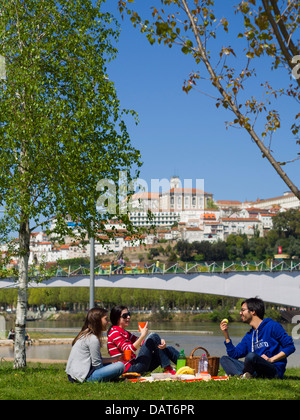 Junge Leute haben ein Picknick in Coimbra, Portugal, Europa - Stockfoto