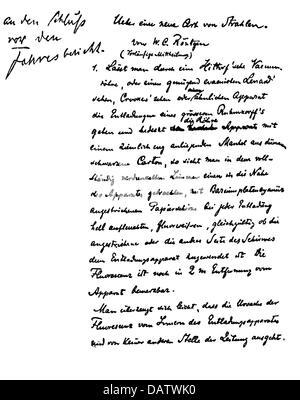 Röntgen, Wilhelm Conrad, 27.3.1845 - 10.2.1923, deutscher Wissenschaftler (Physiker), vorläufige Nachricht über - Stockfoto