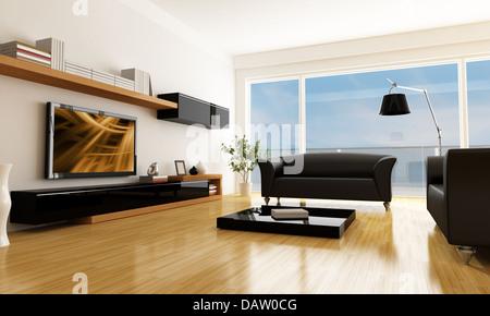 Schwarz und Weiß Wohnzimmer mit Poster an der Wand Stockfoto ...