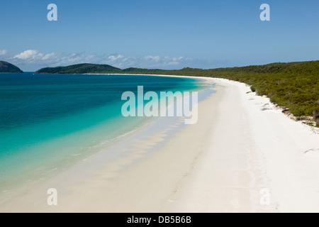 Luftbild auf Whitehaven Beach, Whitsunday Island, Whitsundays, Queensland, Australien - Stockfoto