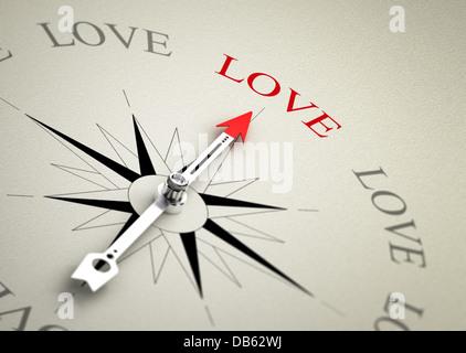 Kompass mit Pfeil, der auf das Wort Liebe. 3D-Render Bild geeignet für Liebe Coaching oder couselling Konzept, 3D - Stockfoto