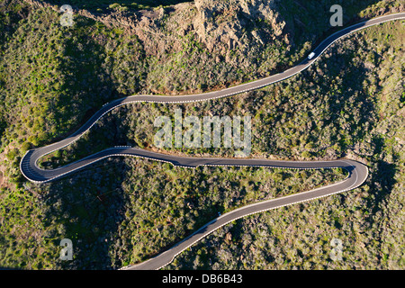 Serpentinen, Masca, Teneriffa, Kanarische Inseln, Spanien - Stockfoto