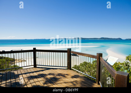 Aussichtspunkt mit Blick auf malerische Hill Inlet und Whitehaven Beach. Whitsunday Island, Whitsundays, Queensland, - Stockfoto
