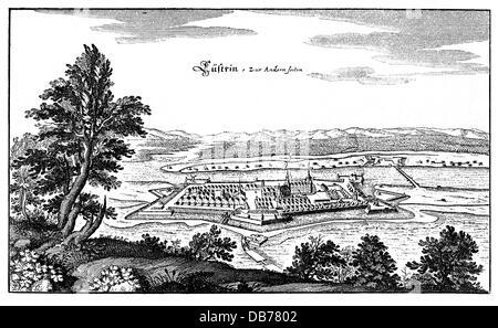Geographie/Reisen, Polen, Kostrzyn nad Odra (Kuestrin), Festung, Aussicht, Kupferstich, 17. Jahrhundert, Cuestrin, - Stockfoto
