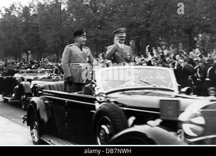 Mussolini, Benito, 29.7.1883 - 28.4.1945, italienischer Politiker (Pnf), Ministerpräsident 30.10.1922 - 25.07.1943, - Stockfoto