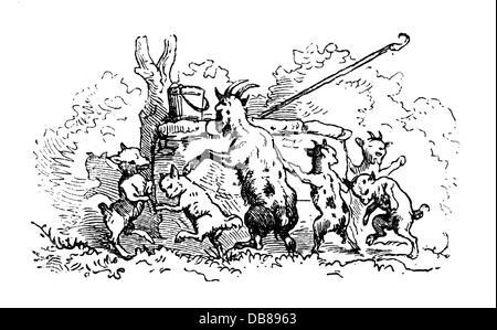literatur märchen brüder grimm mutter der wolf und die sieben jungen geißlein ziege mit schere