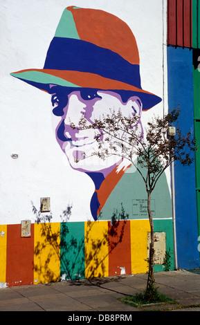 Carlos Gardel Wandbild, Projekt: Tango, artist Marino Santamaria. Nach Quartal. Buenos Aires. Argentinien. Südamerika. - Stockfoto