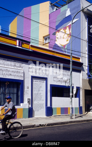 Carlos Gardel Wandbild, Projekt: Tango, vom Künstler Marino Santamaria. Einmal Viertel. Buenos Aires. - Stockfoto