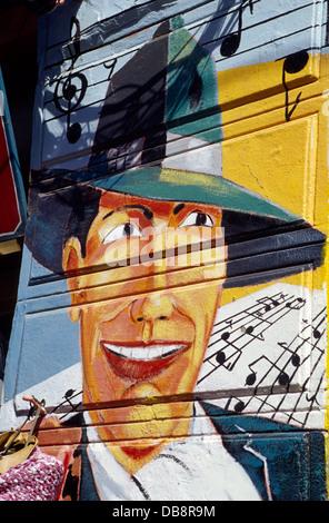 Carlos Gardel Wandbild am Caminito, La Boca District. Buenos Aires. Argentinien. Süd-Amerika. - Stockfoto