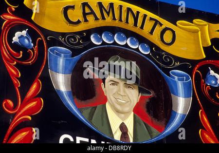 Carlos Gardel Bild Caminito, La Boca District. Buenos Aires. Argentinien. Süd-Amerika. - Stockfoto