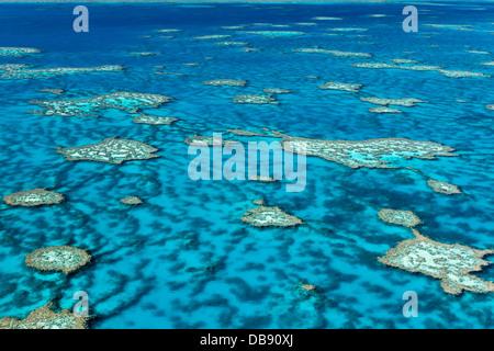 Luftaufnahme von Korallen-Formationen im Hardys Reef. Great Barrier Reef Marine Park, Whitsundays, Queensland, Australien - Stockfoto