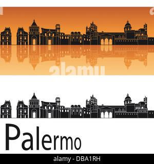 Skyline von Palermo in orangem Hintergrund - Stockfoto