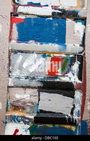 Farbe tupfen auf Maler Schuppen _grunge malen Spritzern Flecken Spritzer Tropfen Tropfen, MacDuff Schiff Werkstätten, - Stockfoto