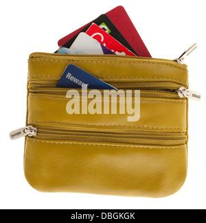 Gelbe Damen drei Reißverschluss Geldbörse mit Kreditkarten zeigen - Stockfoto