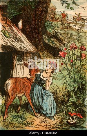 Kleiner Bruder und kleine Schwester, aus einem Berliner Ausgabe von Grimms Märchen, 1865. Farbpalette - Stockfoto