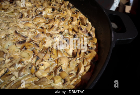 Frischen Champignons in einer cremigen Knoblauchsauce Kochen in einer großen Pfanne - Stockfoto