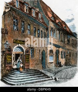 Geburtshaus von Georg Friedrich Händel in Halle, Sachsen, in Deutschland. Hand - farbige Holzschnitt - Stockfoto
