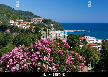 Blick über Resort, Halbinsel Pilion, Agios Ioannis, Thessalien, Griechenland, Europa - Stockfoto