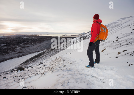 Winterlandschaft auf Vulkan Hverfjall, Myvatn, Island, Polarregionen - Stockfoto