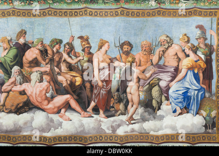 Der Rat der Götter, Fresko, detail, Raphael, Villa Farnesina, Rom, Italien - Stockfoto