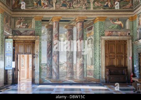 Landschaften von Lazio, Baldassarre Peruzzi, Halle der Perspektiven, Villa Farnesina, Rom, Italien - Stockfoto