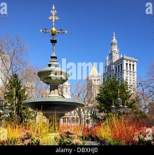 City Hall Park in New York City. - Stockfoto