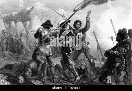 DER 1600ER 1630ER JAHRE 1637 SCHLACHT DER PEQUOT KRIEG PURITANISCHEN SIEDLER PEQUOT-INDIANER IN CONNECTICUT USA - Stockfoto