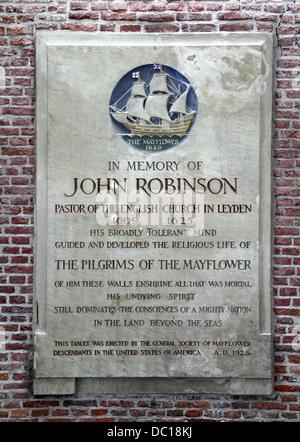 Die Pieterskerk.late-gotische Kirche in Leiden Netherlands.the Kirche der Pilgerväter. wo John Robinson begraben - Stockfoto