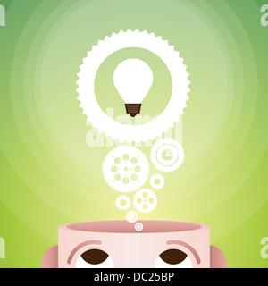 Vektor-Illustration von gehackten Kopf mit Glühbirne auf Zahnräder für Ideen und Innovationen. - Stockfoto