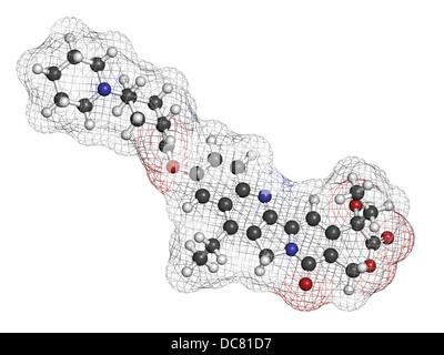 Irinotecan Krebs-Chemotherapie-Medikament, chemische Struktur. Atome werden als Kugeln mit konventionellen Farbkodierung - Stockfoto
