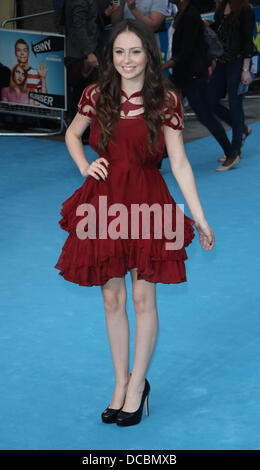 London, UK, 14. August 2013. Tamara Melek besucht wir sind The Millers - europäische Premiere - am Odeon West End - Stockfoto