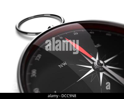Nahaufnahme der einen Kompass mit Nadel nach Norden Richtung. 3D-Render Bild geeignet für Beratung Konzept - Stockfoto