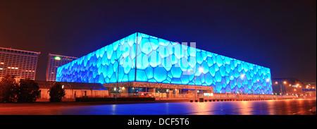 Beijing National Aquatics Center bei Nacht - Stockfoto
