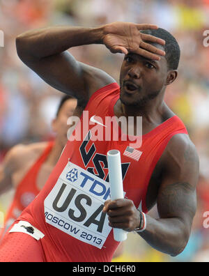 Moskau, Russland. 18. August 2013. Justin Gatlin USA reagiert nach der Männer 4x100m Staffel 1. Runde bei den 14. - Stockfoto