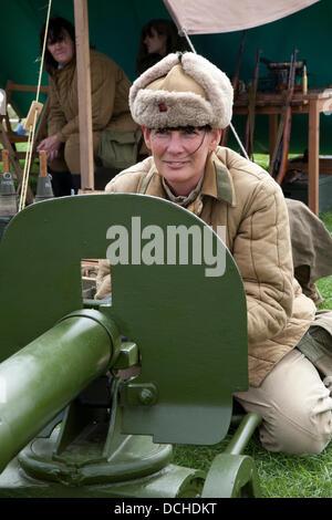 Die russischen Soldaten, militärische reenactor in Lytham, Blackpool. 18 August, 2013. Jackie Foggin aus Newcastle - Stockfoto
