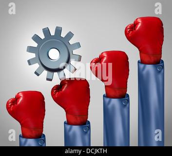 Wettbewerbsfähige Aufstieg und Überwindung von Widrigkeiten Geschäftskonzept und Symbol für die Eroberung Herausforderungen als single-Gear oder Zahnrad Klettern eine steigende Gruppe rote Boxhandschuhe, Wettbewerb darstellt. Stockfoto