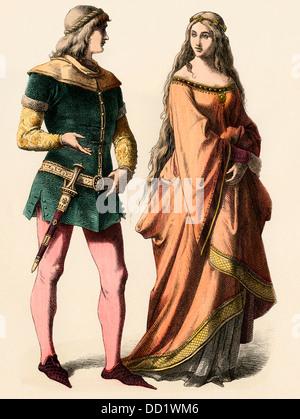Deutscher Ritter und eine Dame, 1300. Hand-farbig drucken - Stockfoto