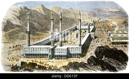 Tempel von Mekka durch religiöse Pilger umgeben, 1850. Hand - farbige Holzschnitt - Stockfoto