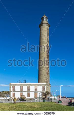 Spanien, Blick auf Leuchtturm in Maspalomas - Stockfoto