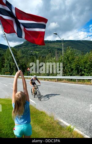 Aus dem Rennen Helterittet 2013. Eine norwegische MTB-Rennen am Rande der Hardangervidda Nationalpark. - Stockfoto