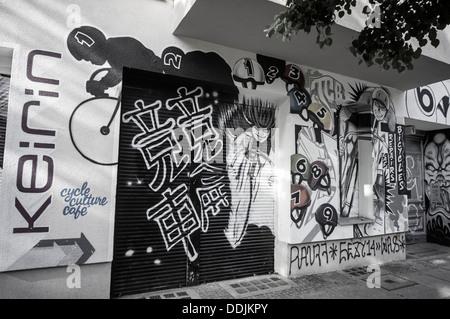 Wandmalerei, Graffiti, Cycle Shop, Kreuzberg, Berlin - Stockfoto
