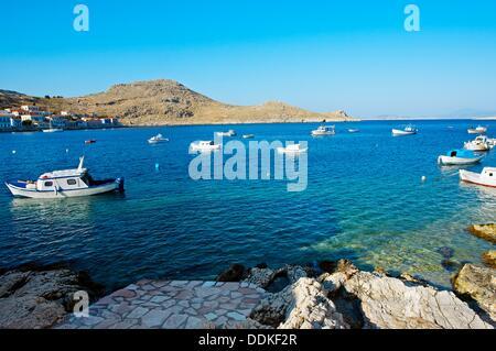Chalki Stadt, Chalki, Dodekanes, griechische Inseln, Griechenland, Europa - Stockfoto
