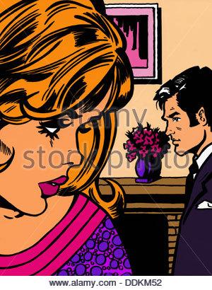 Nahaufnahme von besorgt Frau gerade Mann hinter ihr - Stockfoto