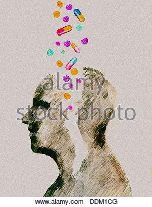 Verschiedene Pillen in den Männern den Kopf zu fallen - Stockfoto