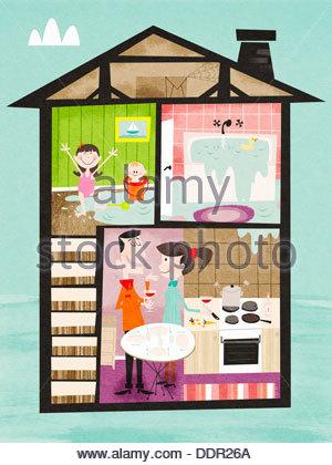 Kinder spielen im Wasser überlaufen Bad im Obergeschoss und Eltern trinken Wein im Erdgeschoss - Stockfoto