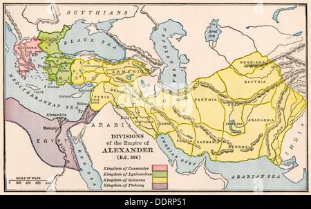 Karte, die die Spaltung des Reiches Alexanders des Großen nach seinem Tod. Farblithographie - Stockfoto