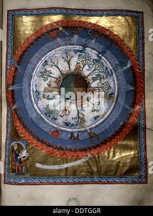 Beleuchtung von Hildegard von Bingen's Liber Divinorum Operum, 1165. Künstler: Werner Forman - Stockfoto