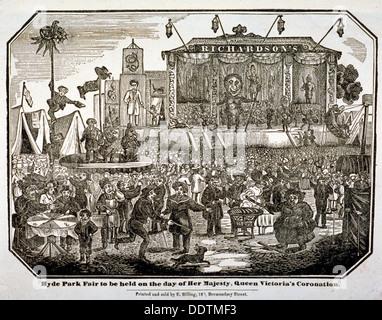 Eine Messe am Hyde Park während Königin Victorias Krönung im Jahre 1838. Künstler: Anon - Stockfoto