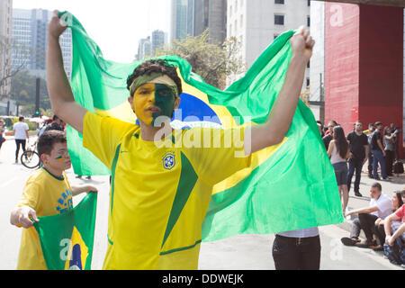 Sao Paulo, Brasilien. 7. September 2013. Demonstrant führen brasilianische Flagge während einer Kundgebung am Avenida - Stockfoto